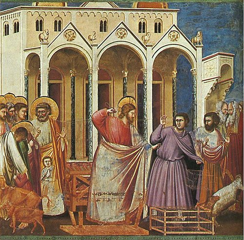Casting out the Money Changers by Giotto, 14th century. Giotto - Scrovegni - -27- - Expulsion of the Money-changers from the Temple.jpg