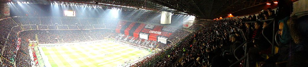 A panorama of the San Siro during matchday.