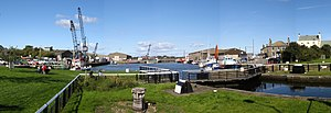 Glasson Dock - Image: Glasson Dock, lock from bridge