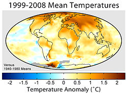 Mean surface temperature anomalies during the period 1995 to 2004 with respect to the average temperatures from 1940 to 1980.