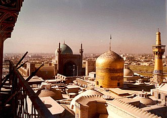 Khorasan Province - The domes of the Imam Reza shrine and the Goharshad Mosque, 1976, at Mashhad, a major city in the former Khorasan and now the capital of the Razavi Khorasan Province