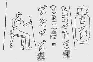 Meryhathor - The nomarch Djehutynakht II (left) and Meryhathor's cartouche (right), from Hatnub