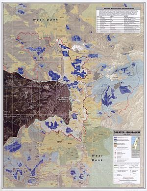 Israeli-occupied territories - Greater Jerusalem, May 2006. CIA remote sensing map showing East Jerusalem, the Green Line and Jerusalem's city limits which were unilaterally expanded by Israel, 28 June 1967, annexed by Knesset (30 July 1980), and modified and expanded in February 1992.