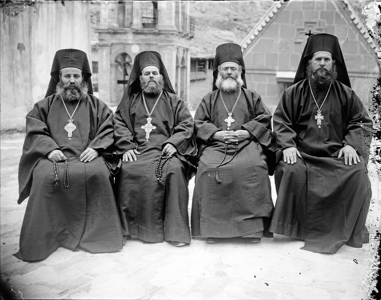 Greek Orthodox priests at St. Catherine's Monastery in the Sinai.jpg