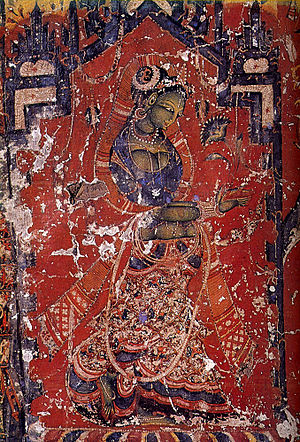 Sari - Tara depicted in ancient three-piece attire, c. 11th century CE.