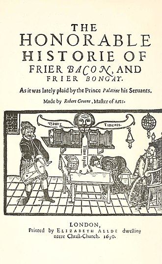 Friar Bacon and Friar Bungay - Title page of 1630 printing of Friar Bacon and Friar Bungay.
