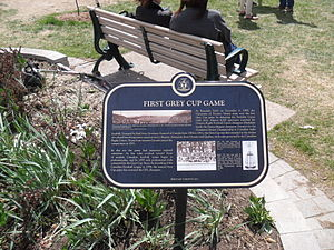 Rosedale Field - Plaque commemorating the first Grey Cup game