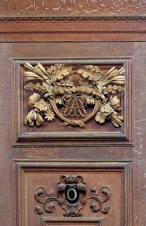 Grinling Gibbons - One of the many bookcase carvings Gibbons made for the Wren Library, Cambridge.