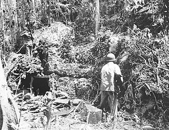 Matanikau Offensive - Two U.S. Marines check a Japanese coral block bunker near Point Cruz after the battle on 3 November