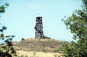 A view of one of the guard towers at Guantanam...