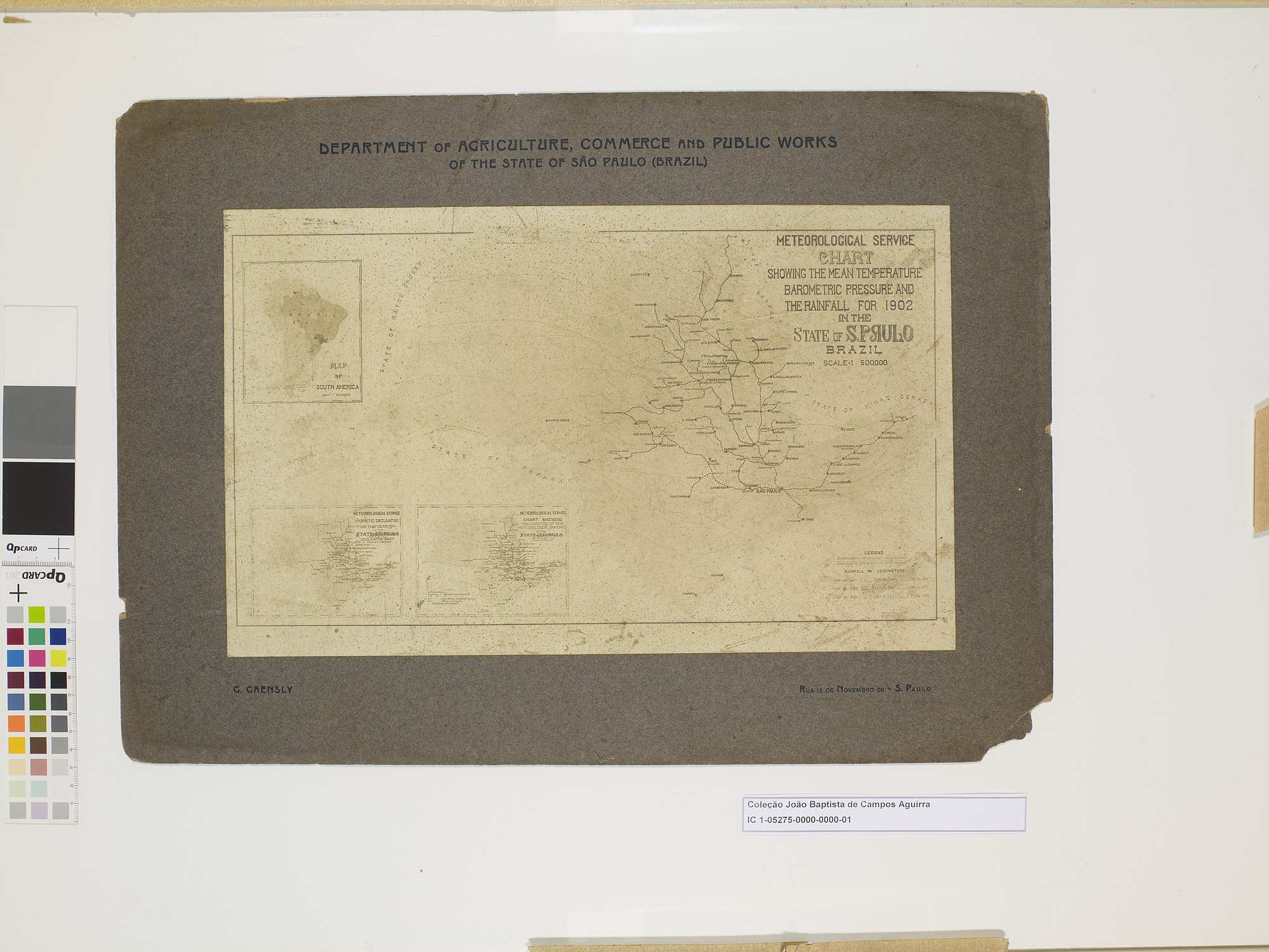 Reprodução de mapa: Meteorological Service Chart Showing The Mean Temperature, Barometric Pressure And The Rainfall For 1902 In The State Of S. Paulo Brazil
