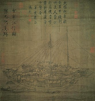 Rudder - An early Song Dynasty (960–1279) painting on silk of two Chinese cargo ships accompanied by a smaller boat, by Guo Zhongshu (c. 910–977 AD); notice the large sternpost-mounted rudder on the ship shown in the foreground