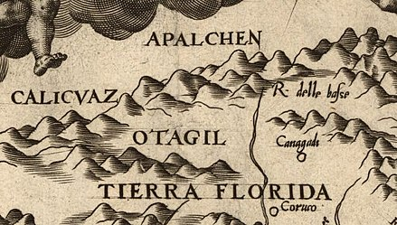 "Detail of Diego Gutierrez's 1562 map of the Western Hemisphere, showing the first known use of a variation of the place name ""Appalachia"" (""Apalchen"") - from the map Americae sive qvartae orbis partis nova et exactissima descriptio Gutierrez-1562-detail-app1.jpg"