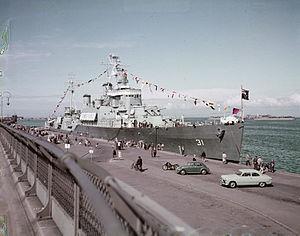 HMS Uganda (66) - Quebec in Copenhagen in 1954