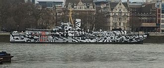 Dazzle ship (14-18 NOW) - HMS President displaying dazzle livery by Tobias Rehberger