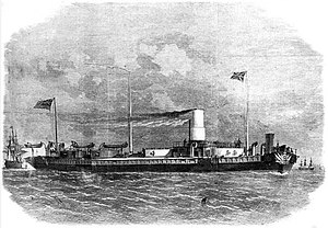 HMS Royal Sovereign (1857) - A plate by Lionel Smythe which appeared in the Illustrated London News in 1864 of Royal Sovereign after her conversion into a turret ship that year.