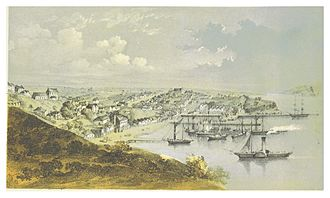 Auckland - Print of a painting of Auckland port, 1857