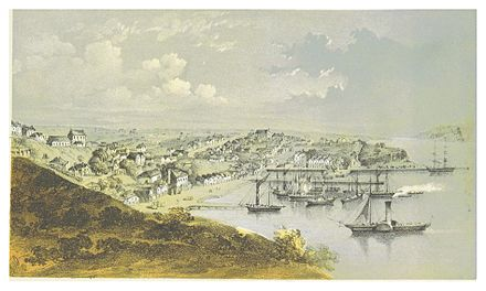 Print of a painting of Auckland port, 1857 HURSTHOUSE(1857) p225 AUCKLAND, NEW ZEALAND.jpg