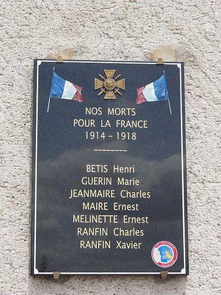 Haigneville (M-et-M) plaque monument aux morts sur la mairie