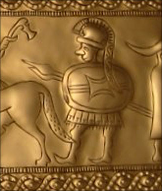 Boii - Depiction of a soldier wearing a plumed pot helmet, Hallstatt culture bronze belt plaque from Vače, Slovenia, ca. 400 BC