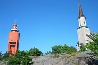 Hanko - The water tower and church in Hanko. They were rebuilt after the war, having been destroyed by the Soviets.