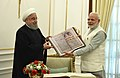 Hassan Rouhani gifted an animated version of Kalila Wa Demna (Farsi translation of the Panchtantra) and a copy of the Mahabharat in Farsi to the Prime Minister, Shri Narendra Modi, at Hyderabad House, in New Delhi (1).jpg