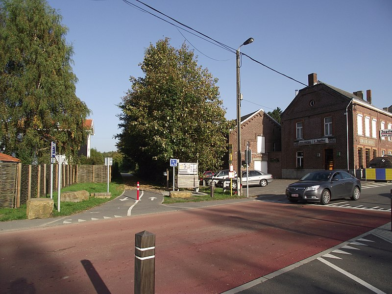 Old SNCB railway line 126 converted into a bikeway (Ravel). Here at Havelage station. Station building at the left.