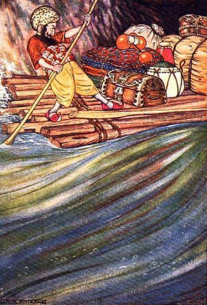 "Sinbad the Sailor - Sinbad the Sailor: ""Having balanced my cargo exactly..."" Drawing by Milo Winter (1914)"