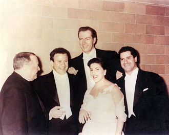 Thomas Hayward (tenor) - Hayward, second from left, pictured with his Metropolitan Opera colleagues, Licia Albanese, Frank Guarrera (far right) and Jerome Hines.