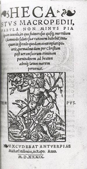 Macropedius - First edition of Macropedius' Hecastus, printed by Johannes Hillen in Antwerp 1539. Tilburg University Library.