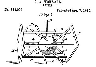 Hedgehog in the Cage - The first known model of the puzzle, patented by Clarence A. Worrall.