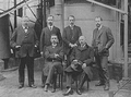 Heike Kamerlingh Onnes - 40 - Employees of the Physics laboratory (Natuurkundig Laboratorium), Steenschuur, Leiden 1914 From the left W. Keesom, S. Weber, H A Kuijpers, A. Crommelin.png
