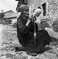 Helena Juriševič, Golac, pri Heričovih, stara 76 let, prede volno 1955 (3).jpg