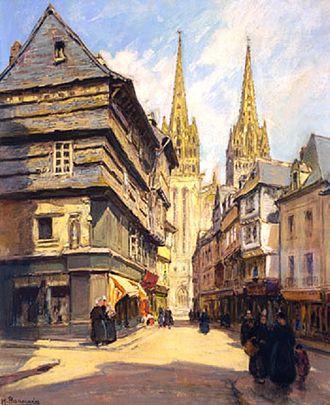 Henri Alphonse Barnoin - Street scene in Quimper