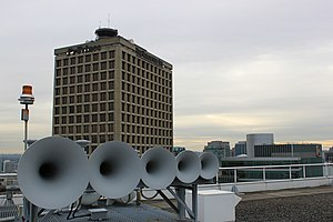 Electra Building - The Heritage Horns shown on the Pan Pacific Vancouver