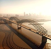 Hernando de Soto Bridge and the Memphis skyline photographed from the Arkansas side.