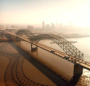 Interstate 40 in Tennessee - The Hernando de Soto Bridge, where I-40 crosses the Mississippi River into Memphis