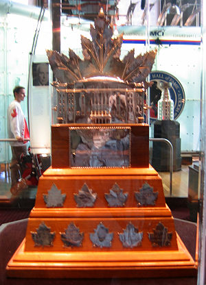 Trophy - The Conn Smythe Trophy, awarded to the most valuable player during the National Hockey League's Stanley Cup playoffs, on display at the Hockey Hall of Fame.