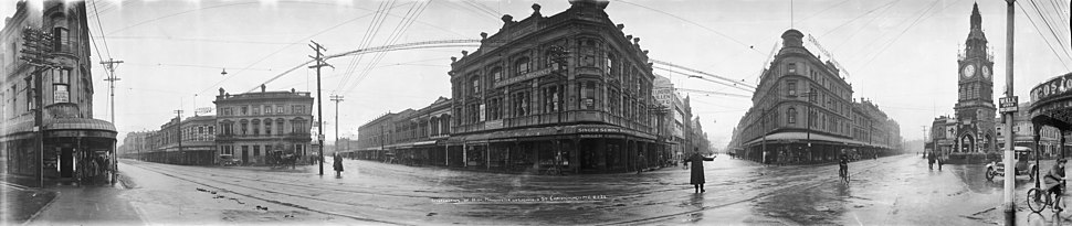 High, Manchester and Lichfield Streets in Christchurch, 8 May 1923