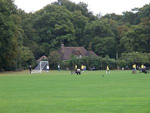 Highgate Wood - Pavilion and football pitch, Highgate Wood