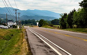 Grainger County, Tennessee - US-11W near Blaine, with Clinch Mountain rising in the distance