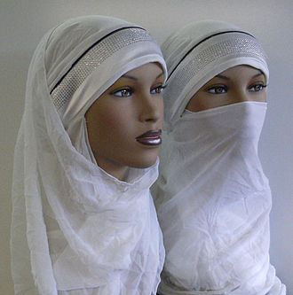 Islamic feminism - Mannequins showing different styles of hijab head-covering