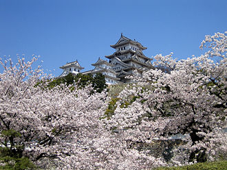 Geography of Japan - Sakura blossoms with Himeji Castle in Hyōgo Prefecture in April