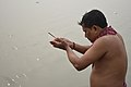 Hindu Devotee Prays To Sun And Ganga With Incense - Makar Sankranti Observance - Howrah 2018-01-14 6942.JPG