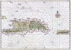 Hispaniola - Early map of Hispaniola and Puerto Rico, c. 1639.