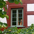 Historical building in Hessia, repainted with traditional linseed oil paint without solvents..JPG