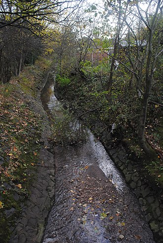 River Tame, West Midlands - Holbrook, in a concrete-slab lined channel alongside the M6 motorway in Great Barr, Birmingham