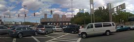 Panorama of Holland Tunnel entrance in New Jersey