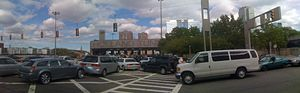 Panorama of Holland Tunnel entrance in NJ .