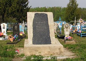 A Holodomor memorial at the Andrushivka villag...